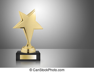 star trophy - Golden star trophy on gray background