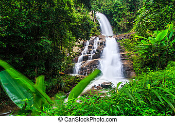 Huay saai leung fall -waterfall in rainforest at Doi...