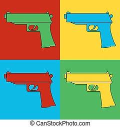Pop art gun symbol icons.. Vector illustration.