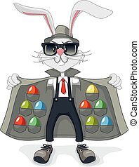 Rabbit with Contraband Easter Eggs - Vector cartoon of funny...