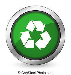 recicle, reciclagem, verde, ícone, sinal