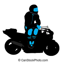 Male Sports Biker Illustration Silhouette - Male sports...