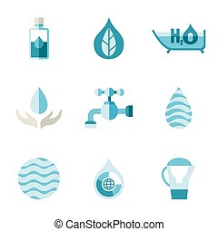 water, ecology, freshness. Characters in a flat style