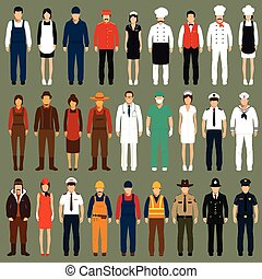 profession people uniform, - vector icon workers, profession...