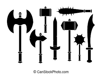barbarian weapon - silhouette - suitable for illustrations