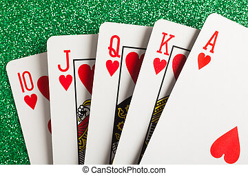 Playing cards - Royal flush. Playing cards isolated on a...
