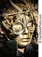 inventor - Steampunk man wearing mask with various...