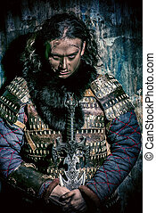 warrior portrait - Close-up portrait of the ancient male...