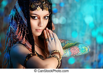 belly dance - Close-up portrait of a magnificent traditional...