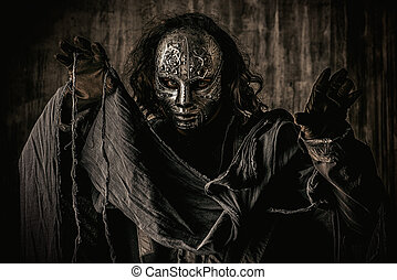 terrify - Portrait of a mysterious man in iron mask...