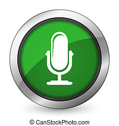 microphone green icon podcast sign