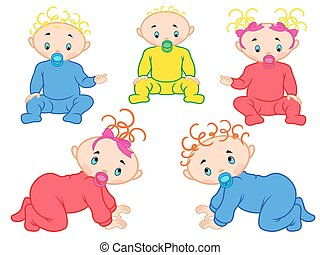Five babies isolated on white background - Five cartoon...