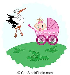Baby girl in a pram and stork beside her - Baby girl in a...