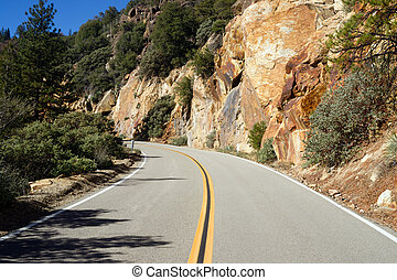 Two Lane Road Through Granite Rock King's Canyon California...
