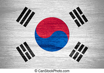 South Korea flag or banner on wooden texture