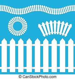 White Picket Fence Icon Set