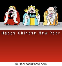 Fu Lu Shou Lucky Gods - An image of the three lucky Chinese...