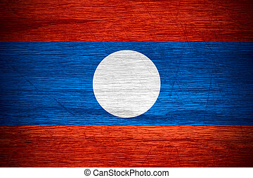 Laos flag or banner on wooden texture