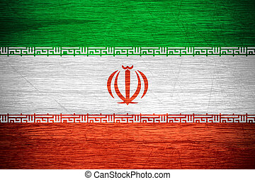 Iran flag or Iranian banner on wooden texture