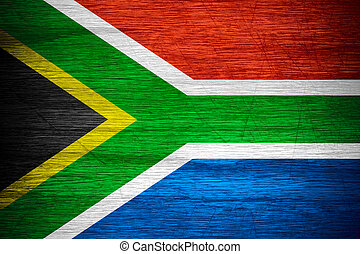 Republic of South Africa flag or RSA banner on wooden...