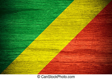 flag of Congo - Congo flag or Congolese banner on wooden...