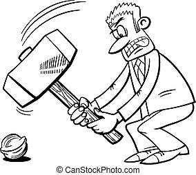 sledgehammer to crack a nut - Black and White Cartoon Humor...