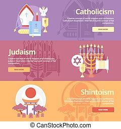 Flat design banner concepts for catholicism, judaism,...