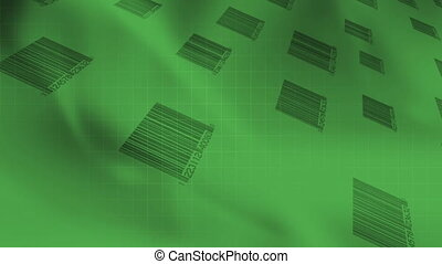 Bar codes Green Looping Abstract - Animated Bar codes Green...