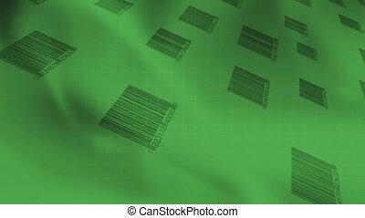 Bar codes Green Looping Abstract - Animated Bar codes Green...
