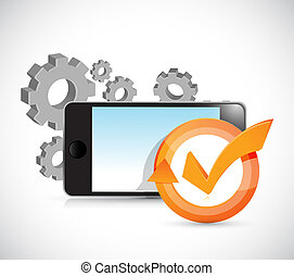 gears and phone check mark cycle illustration design over...