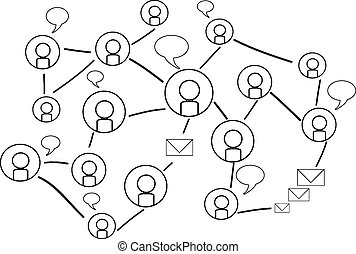 Background of Social network with silhouette icons