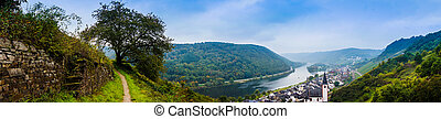 Landscape with the river Moselle in Germany. panorama of...