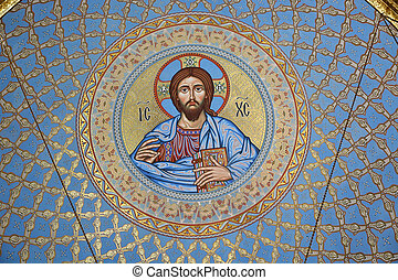 ST PETERSBURG, RUSSIA - SEPTEMBER 28, 2014: The painting on the dome of the Cathedral of the Sea Nikolsokgo. Kronstadt.