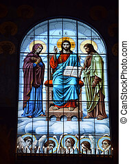 ST PETERSBURG, RUSSIA - SEPTEMBER 28, 2014: Stained-glass window of the Cathedral of the Sea Nikolsokgo. Kronstadt