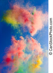 Abstract: daytime fireworks in the blue sky - Abstract:...
