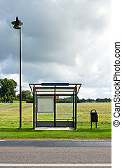 Empty Bus Stop - A bus stop is depicted standing in front of...
