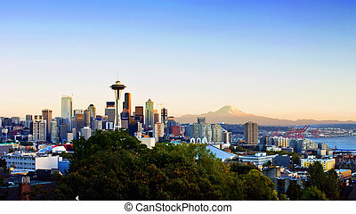 Seattle Skyline - Panoramic view of Seattle with Mt Rainier...