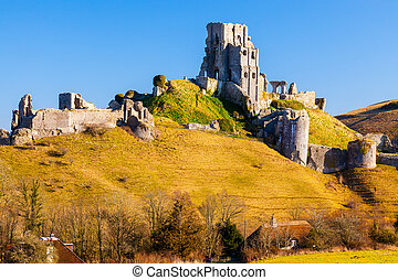 Corfe Castle Dorset England - Medieval Corfe Castle in the...