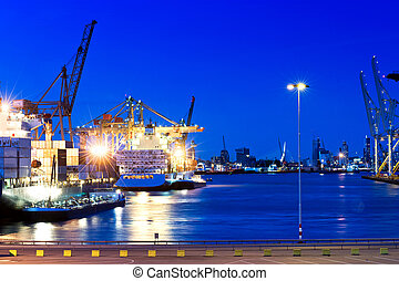 City Port - Image of a city port with intense blue saturated...