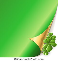 Green page corner with shamrock leaves St. Patricks Day vector card.