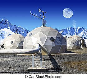 Geo-domes - Geodomes in the tundra. The moon is viewable in...