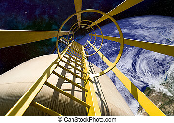 Equipment in Outer Space - Close-up of ladder mechanism on...