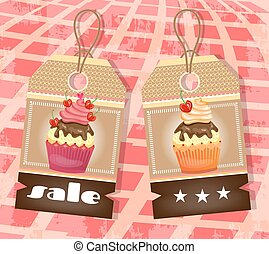 Two tags with cupcakes