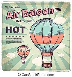 Hot air baloon retro poster