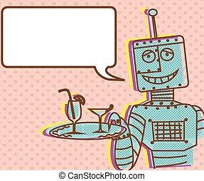 Vintage robot poster - Illustration poster of a robot...