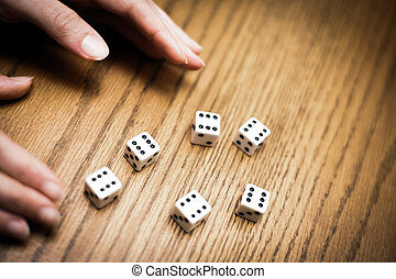 Throwing six dice and getting a perfect score ! - Luck...