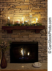 Cozy Nighttime Fireplace - A sleeping kitty by a cozy...