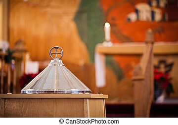 Closed Baptismal in a church before a Baptism