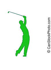 Golf Player Patch - Golf player silhouette patch over white...