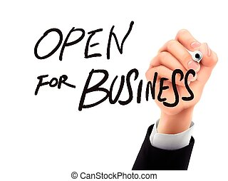open for business written by 3d hand - open for business...